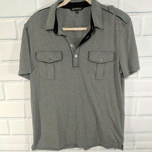 Express Gray Polo with Tab Shoulders